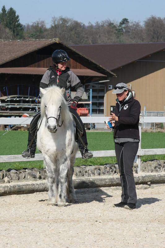 Andrea mit Sky, wir besprechen die Sitzhilfen im Renvers (Kruppeheraus)